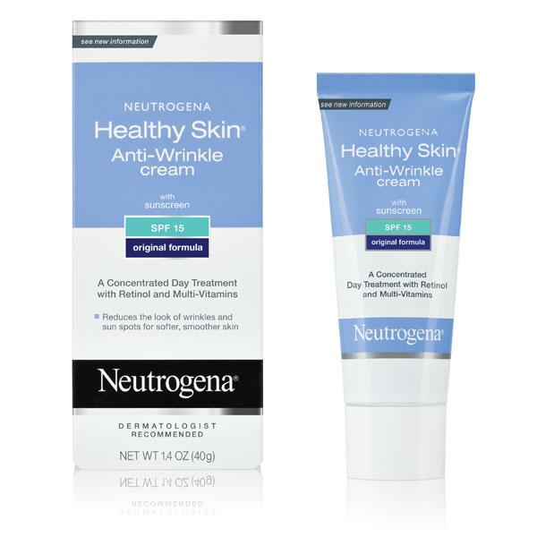 Kremy na pierwsze zmarszczki mimiczne, dedykowane dla kobiet 30+. Tego rodzaju kosmetyki dobieramy pod kątem typu cery, a także składu - inne wlaściwości mają kremy 30+, a inne 50+ dedykowane dla skóry dojrzałej. Na zdjeciu krem Neutrogena przeciwzmarszczkowy Healthy Skin Anti-Wrinkle.