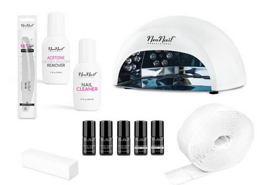 zestaw do manicure hybrydowego od NeoNail - 3 lakiery hybrydowe UV, akcesoria oraz lampa biała LED