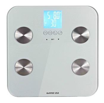 nowoczesna waga łazienkowa z funkcją pomiaru tłuszczu